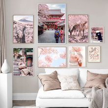 Japanese Deer Sakura Fuji Mountain Monk Wall Art Canvas Painting Nordic Posters And Prints Wall Pictures For Living Room Decor