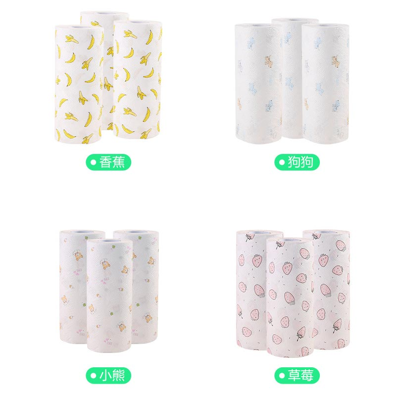 1 Roll Household Kitchen Roll Paper Absorbent Absorbent Printing Paper Towel Disposable Lazy Rag Roll Paper Random Color