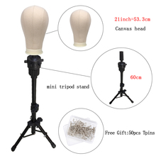 Alileader 21 25inch Block Mannequin head with stand adjustable tripod for Wig Making Training Head Holder Hair Extension Display