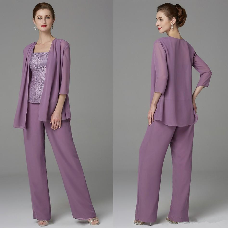 2020 Lavender Mother Of The Bride Dresses Pants Suits With Jacket Lace Chiffon Pantsuits Three Pieces Mother Of Bride Dress