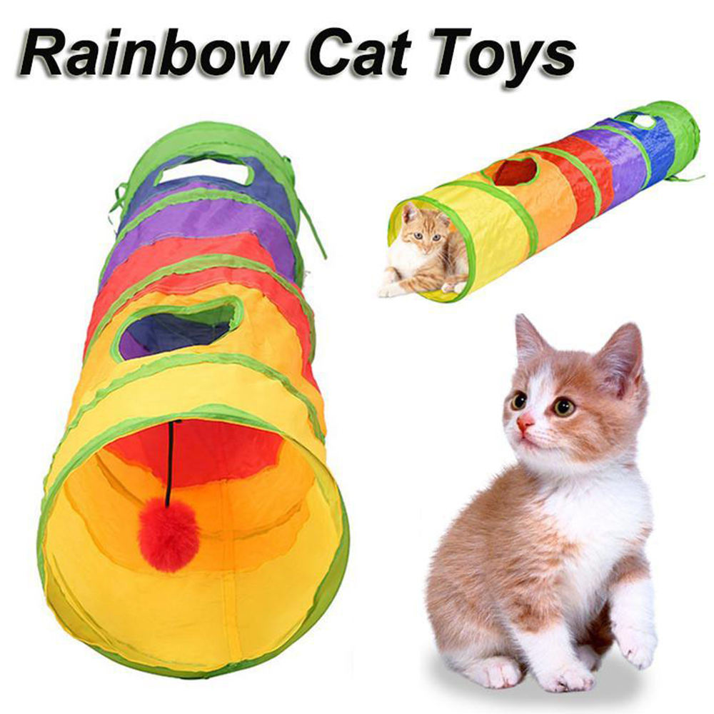 Funny Pet Tunnel Cat Play Tunnel Foldable 2 Holes Cat Tunnel Kitten Toy Bulk Toys Rabbit Tunnel Cat Cave Toy For Cat Interactive image