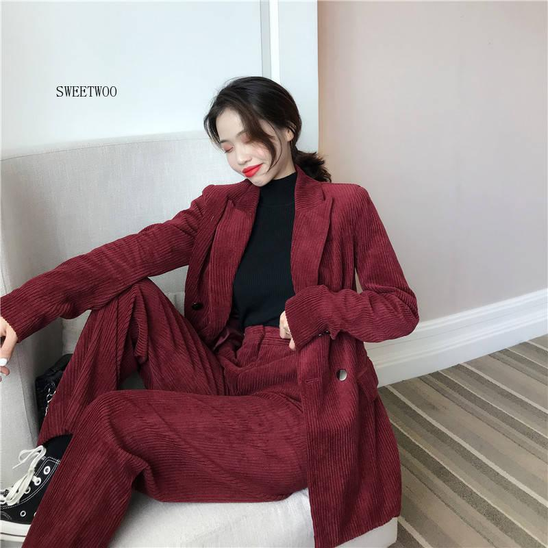 2020 Autumn Solid Women Elegant Corduroy Blazer OL Notch Collar Jacket Female Wine Red Double Breasted Coats