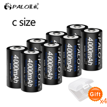 PALO 1-8pcs C size rechargeable battery type 1.2V 4000mAh NI-MH nimh ni mh high capacity current batteries