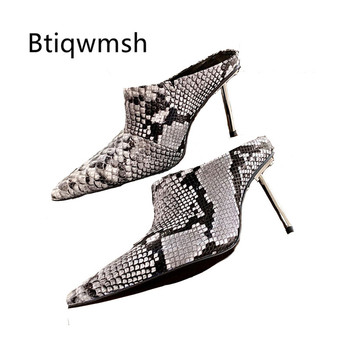 Snakeskin Mules Shoes Woman Pointed Toe Cow Leather Metal Strange High Heel Shoes Ladies Gladiator Sandals