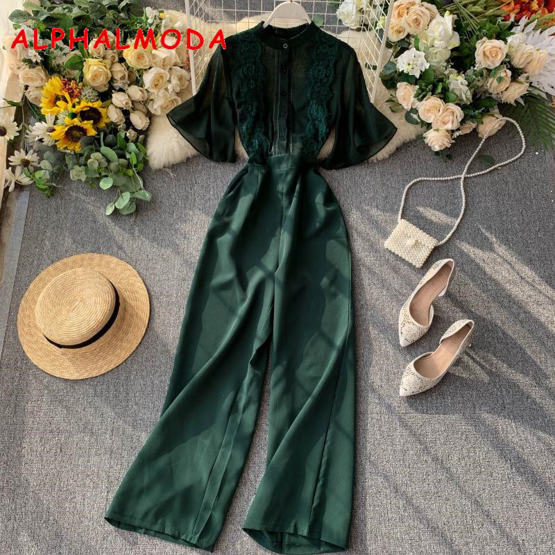 ALPHALMODA New Lace Chiffon Blouse Top Patchwork Wide-leg Jumpsuit Women Autumn Graceful Perspective High Waist Rompers Solid