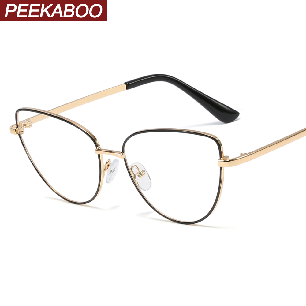 Peekaboo Retro Metal Glasses Frame Cat Eye Female Gold Black Clear Lens Triangle Optical Eyeglasses Women's Accessories