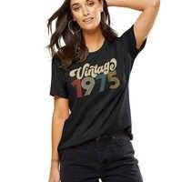 Camiseta Vintage 1975 para mujer, camiseta Harajuku de cumpleaños 46, camisetas de manga corta Tumblr para fiesta, ropa de moda, envío directo