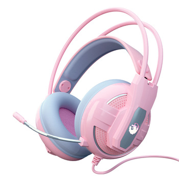 Newest Wired Headset Gamer Pink Cat Ear Headset Cute PS4 Phone PC With Microphone 3.5mm USB Gaming Phone PS4 Overear Gamer Pink 6