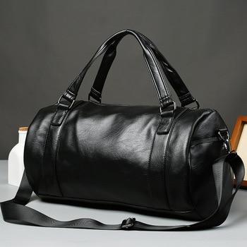 PUOU Travel Bag Men's Handbag Men's Sports Fitness Bag Leisure Travel Tourism Large Capacity Leather Handbag Bag Tide