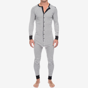 INCERUN Leisure Striped Playsuits Men Long Sleeve O Neck Sleepwear Jumpsuits Fitness Buttons Rompers Homewear Mens Onesies S-5XL