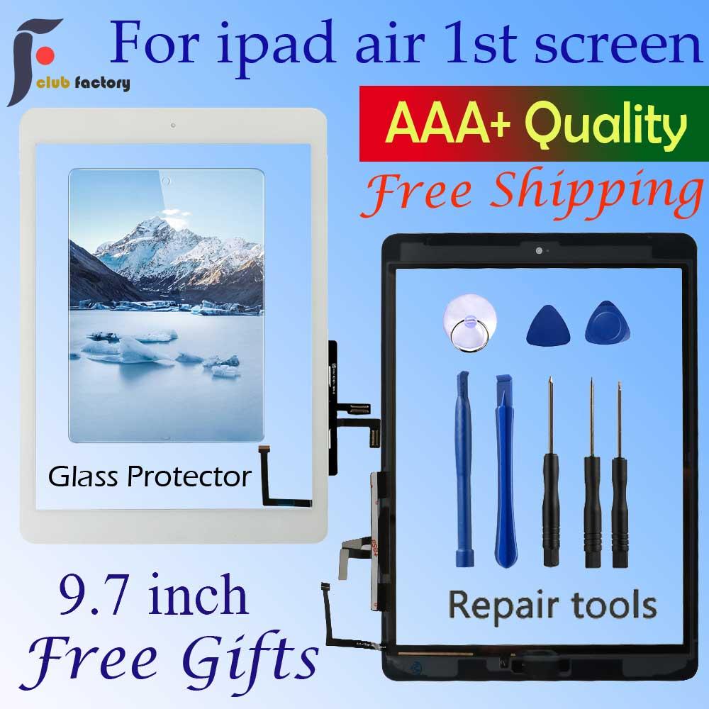 Dla Ipad Air 1 ekran dotykowy A1474 A1475 A147 czujnik Digitizer + przycisk Home + Flex klej + narzędzia do naprawy montaż szklany Panel