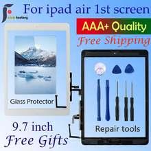 Для Ipad Air 1 сенсорный экран A1474 A1475 A147 дигитайзер Датчик + Главная Кнопка + гибкий клей + Инструменты для ремонта сборка стеклянная панель