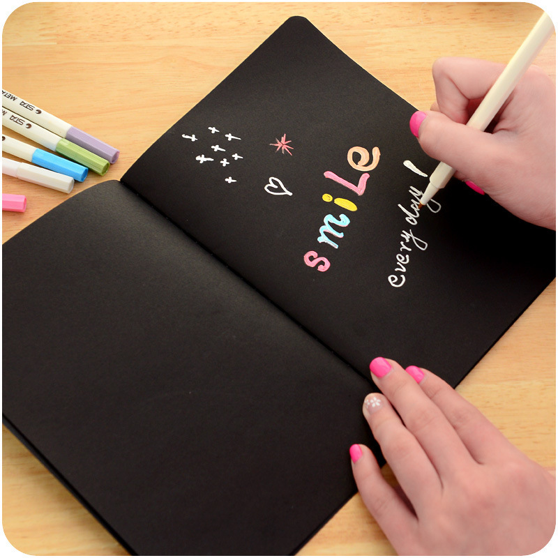 Blank Black Paper Sketch Book Inner Page Diary Notebook Drawing Album DIY Graffiti Picture Painting Paper School Art Supplies