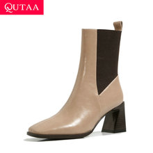 Women Shoes Short-Boots Knitting High-Heel QUTAA Winter Square Toe Ankle Autumn Quality