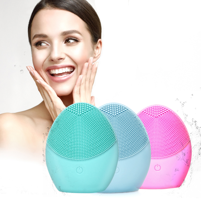 Mini Facial Cleansing Brush Sonic Vibration Face Cleaner Silicone Deep Pore Cleaning Electric Waterproof Soft Massage Tool