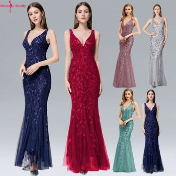 Beauty Emily Sexy V Neck Tank Sleeve Evening Dress 2020 Fashion Silver Appliques Tulle Mermaid Dress Zipper Back Robe De Soiree