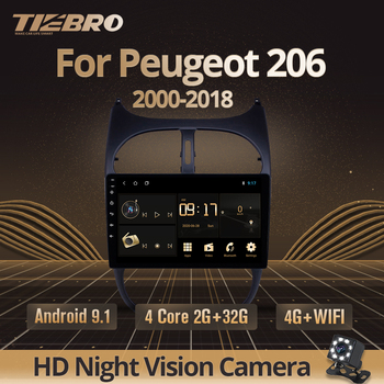 TIEBRO 2din Android 9.0 Car Radio For Peugeot 206 2000-2018 Car Multimedia Player GPS Navigation WIFI IPS Player Autoradio Dvd image