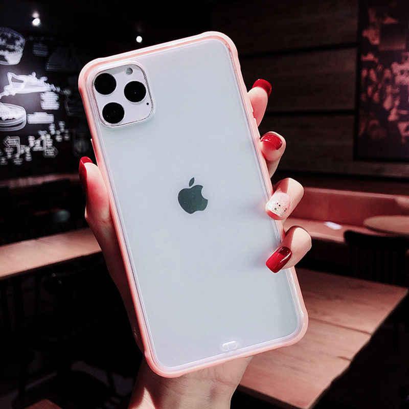 Shockproof Bingkai Telepon Frosted Case untuk iPhone 11 11 Pro Max 7 8 6 6S PLUS Transparan Bening Permen warna Hard Acrylic Back Cover