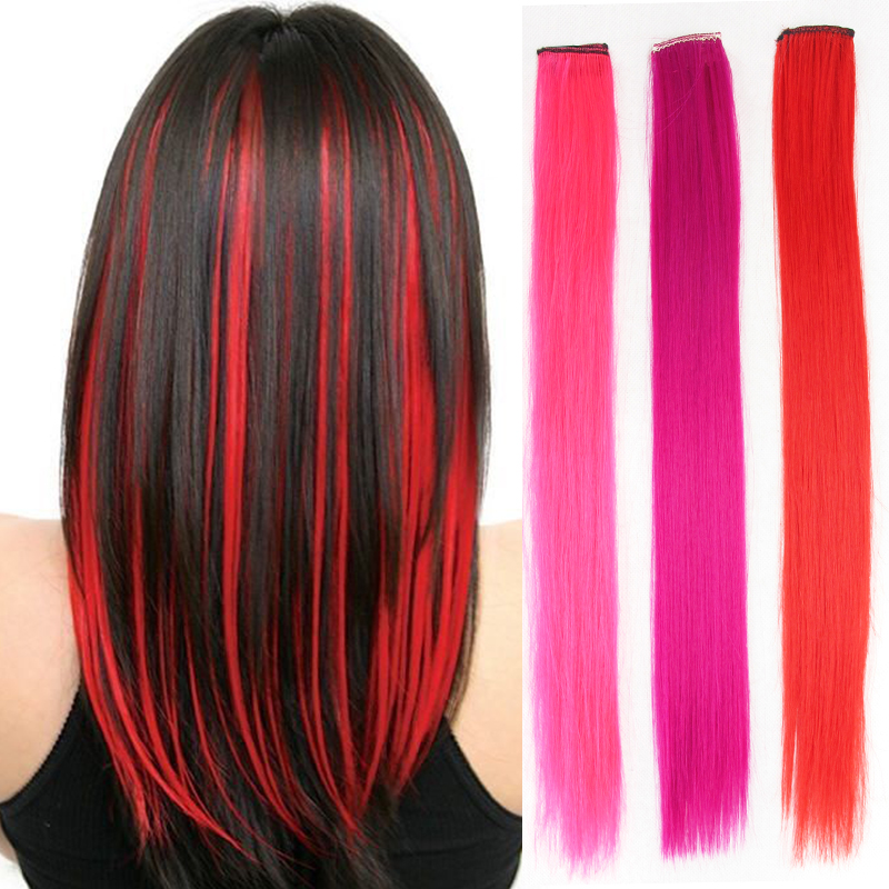 Clip In Synthetic Hair Extension Long Straight Rainbow Color Fake Hair Piece Extensions  On Clips One Piece Dream Ice's