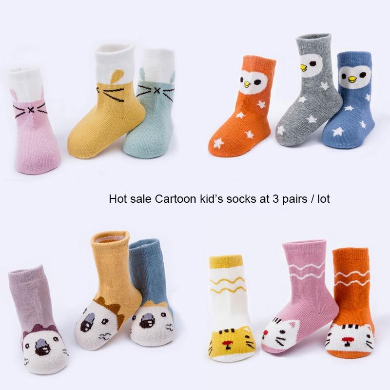 3 Pairs/lot Cotton Kids Socks Cartoon Animals Design Newborn Floor Socks Girl And Boy Short Baby Socks Children Socks