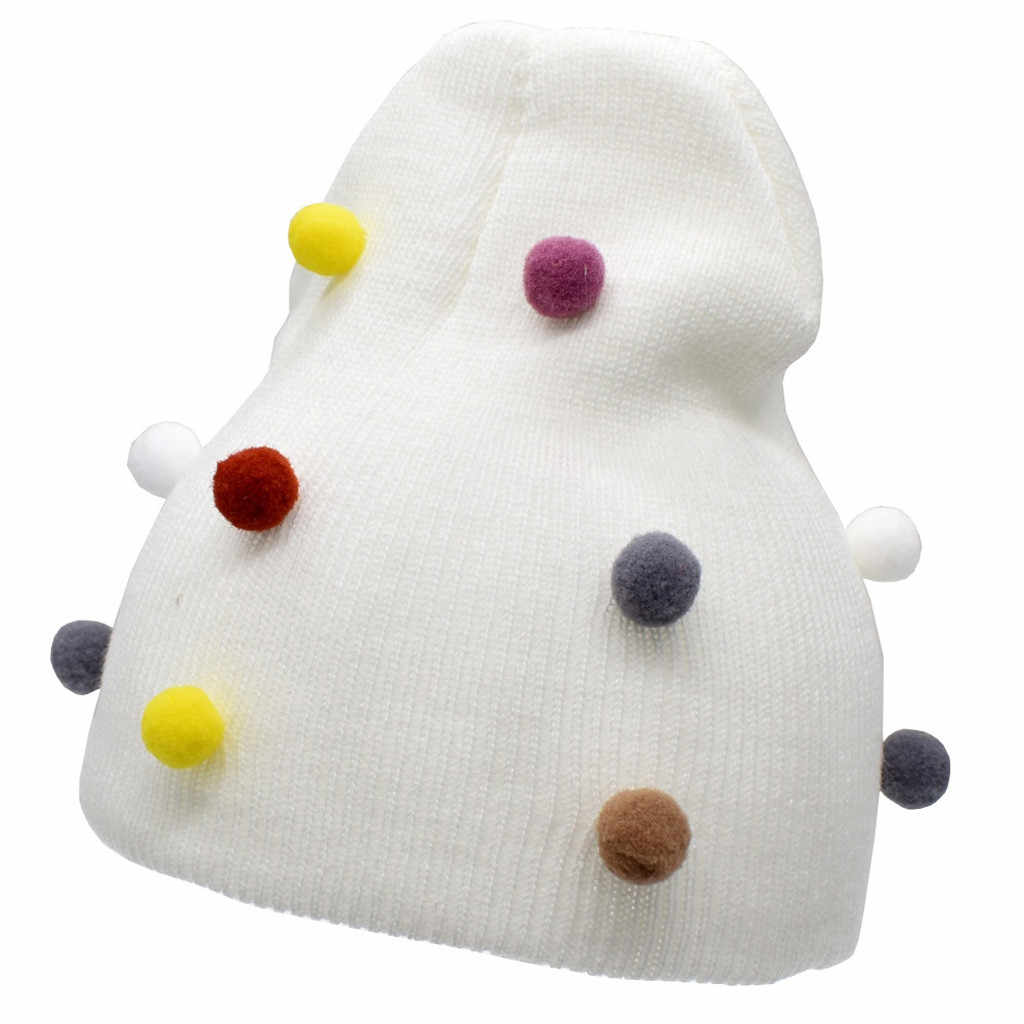 Infant Baby Boys Girls Pure Color Hairball Winter Warm Knitted Wool Hat Toddler Kids Children Cute Fashion Casual Cap Snowwear