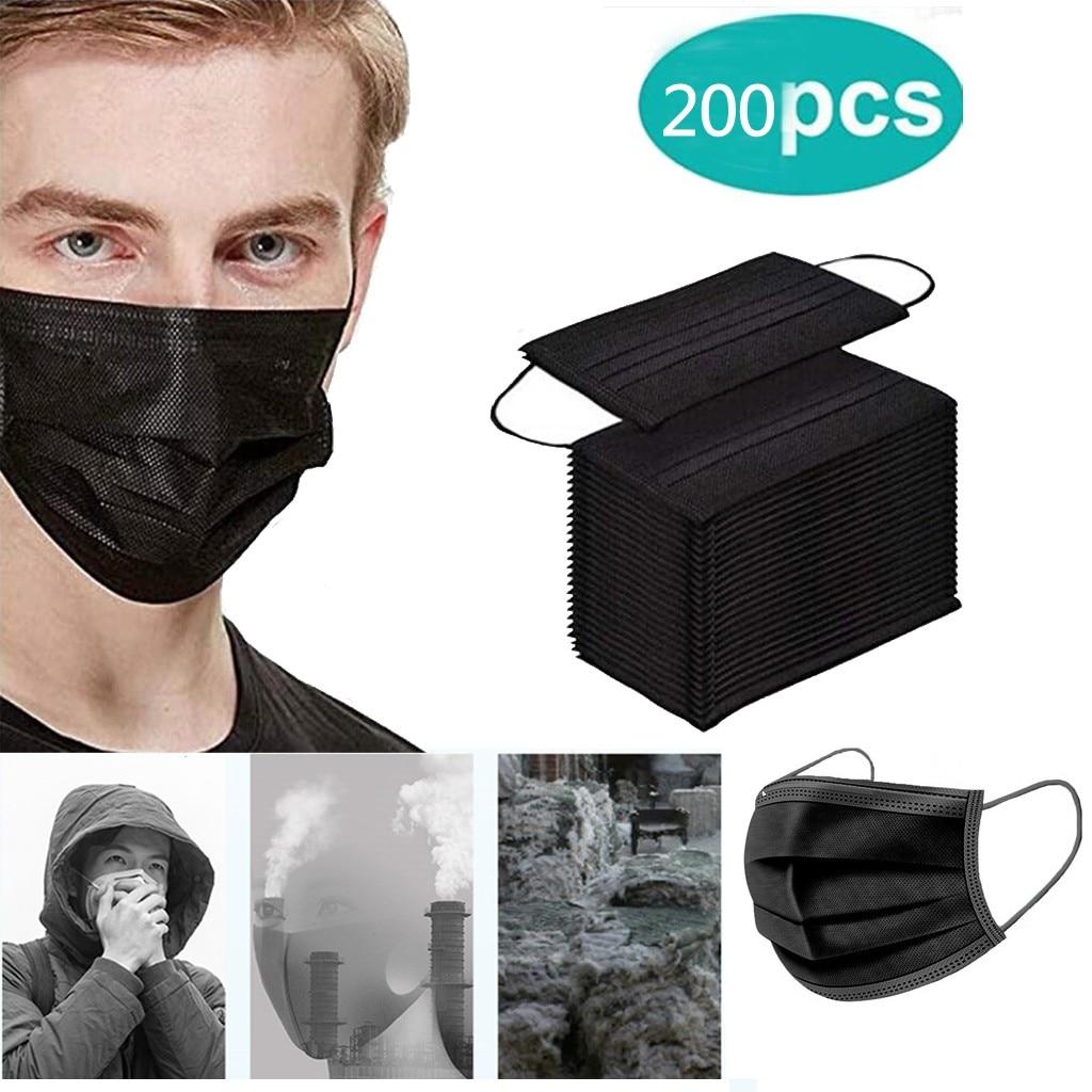 Маска одноразовая Пыленепроницаемая, маска для лица, защитная маска для лица, маска для лица для улицы, 2 шт., черные маски
