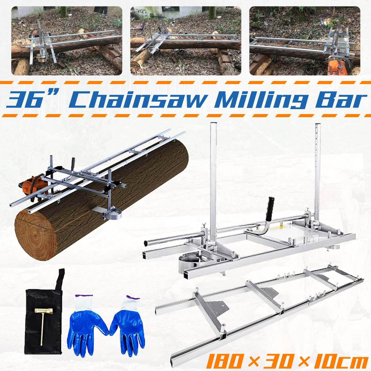 36 Planking Milling Bar Milling Rail System Portable Adjustable Chain Saw Chainsaw Mill With 1.8m Guide Set Cutting Tool
