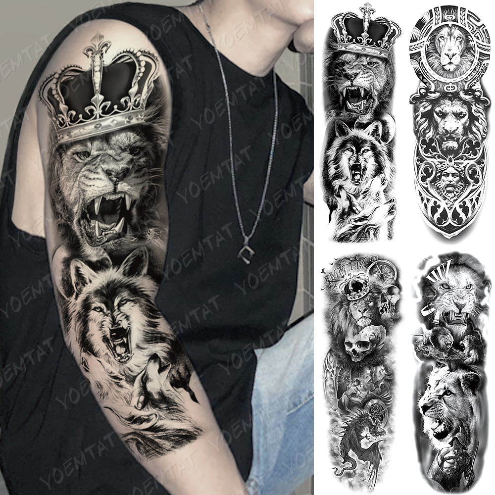 Large Arm Sleeve Tattoo Lion Crown King Rose Waterproof Temporary