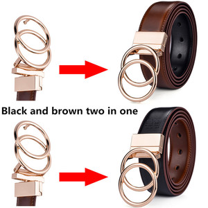 Image 2 - Beltox Women Reversible Leather Belt 2 in 1 Rotated 2 Rings Gold Buckle 3.4cm Wide