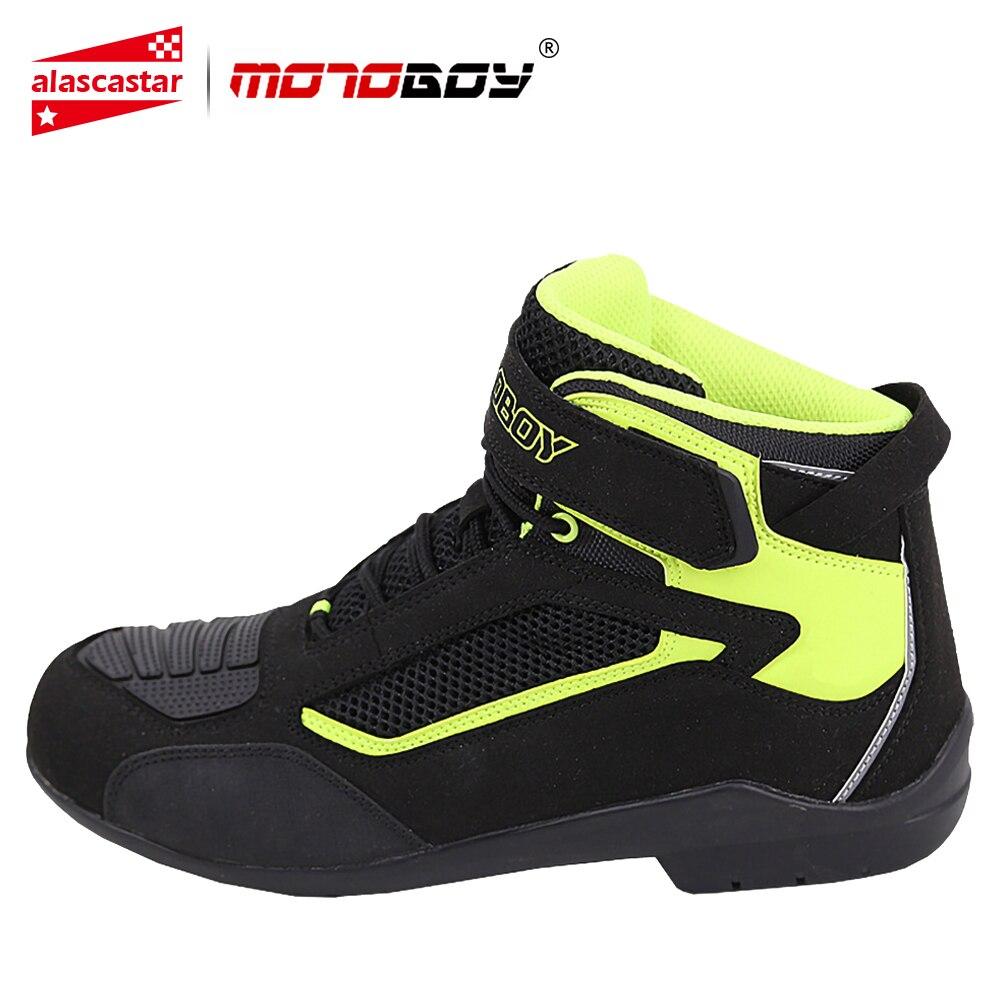 MOTOBOY Motorrad Stiefel Männer Sommer Mesh Männer Motorrad Schuhe Motocross Off-Road Racing Stiefel Moto Stiefel Motorrad Schwarz