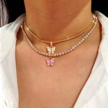 Женское ожерелье с подвеской бабочкой flatfoosie золотистого