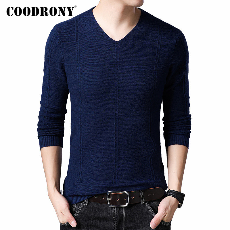COODRONY Brand Sweater Men Casual V-Neck Pull Homme 2019 Autumn Winter Cotton Pullover Men Jersey Hombre Knitwear Sweaters C1010