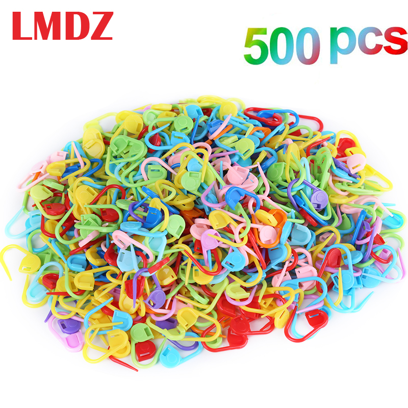LMDZ 500 Pieces Colorful Knitting Markers Crochet Clips, Stitch Counter Needle Clips for Knitting DIY Craft Plastic Safety Pins