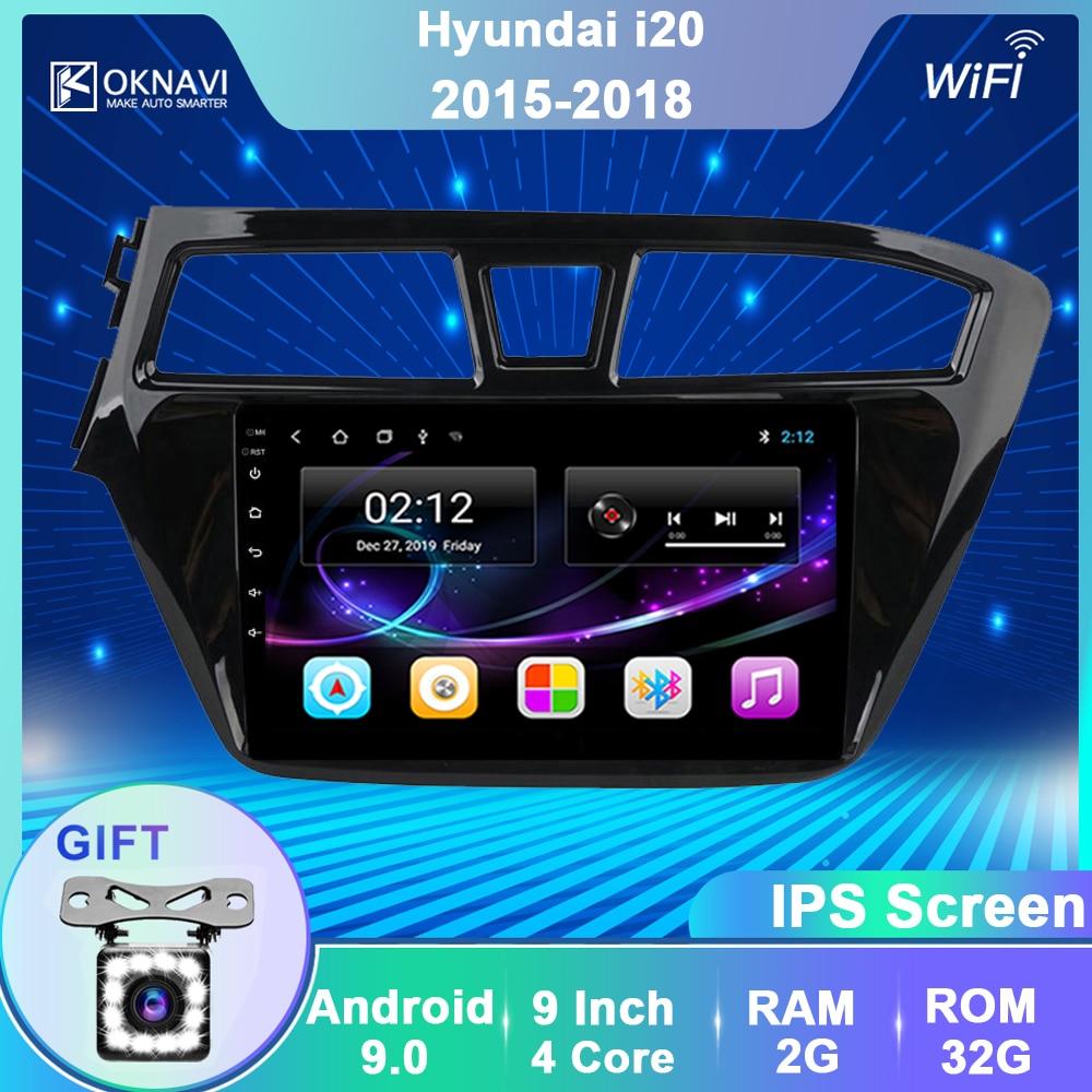 OKNAVI Android 9.0 Car Multimedia Player For Hyundai I20  2015 2016 2017 2018 GPS Navigation Stereo Radio
