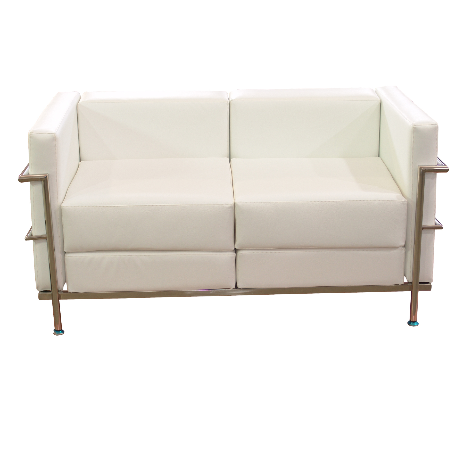 Sofa De Modulo/waiting Two Seater Upholstered In Similpiel White Color TAPHOLE AND CURLED Model Tarazona