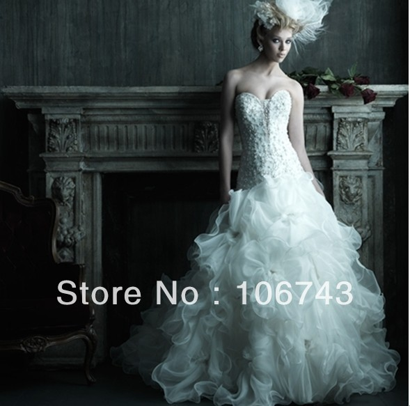 Free Shipping 2016 New Design Style Hot Sale Sexy Bridal Gown Sweet Princess Custom Size High Quality Lace Lace Up Wedding Dress