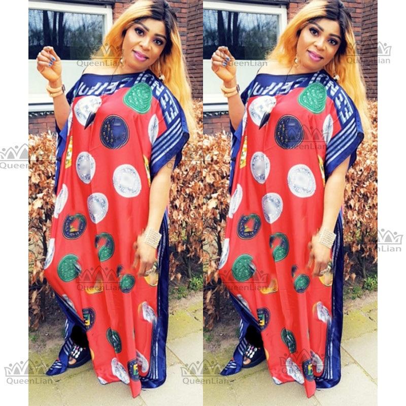 African Dress For Women 2019 Popular Satin Silk  Summer Women Dress Length 145cm, Width 100cm Muslim Long Dress