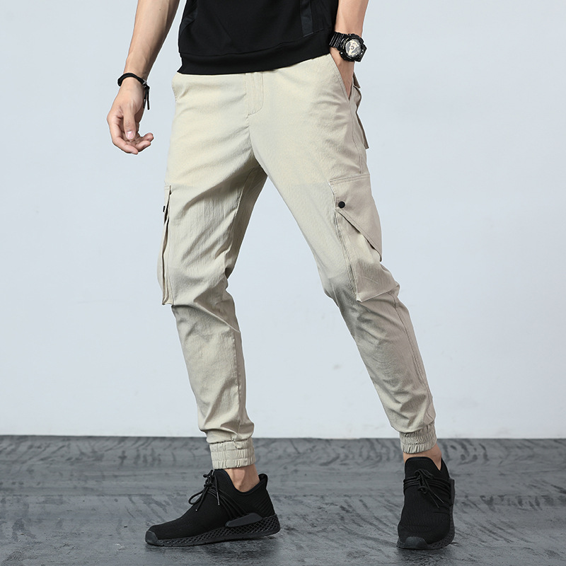 New Multi-bag Beam Casual Pants Fashion Brand Men 's Pants 's Spring and Summer Cargo Pants Ankle-length Pants Loose Cotton 2