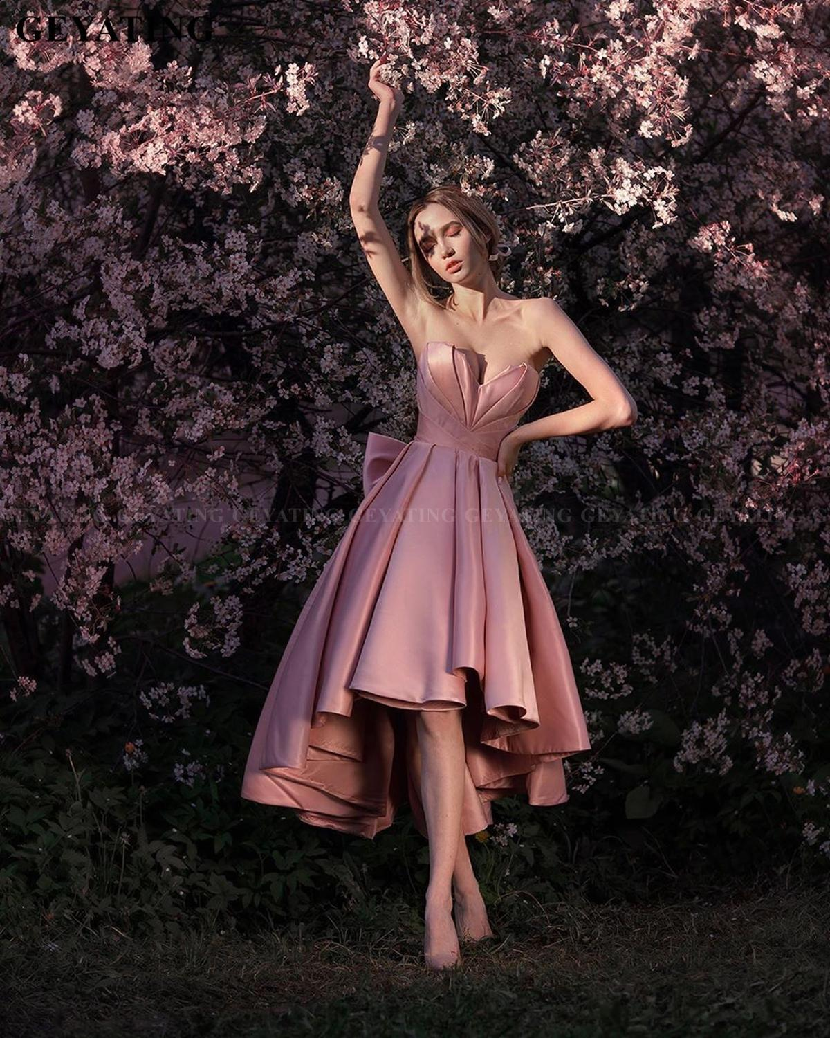 Sexy Sweetheart Blush Pink High Low Prom Dresses Formal Gowns With Bow Plus Size A-line Homecoming Dress Lace-up Evening Dress