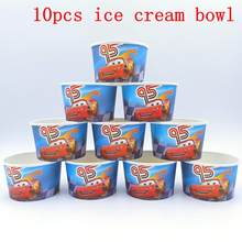 10pcs/lot Lightning Mcqueen Theme Ice Cream Cups Baby Shower Party Supplies Ice Cream Bowl Kids Birthday Party Decoration(China)
