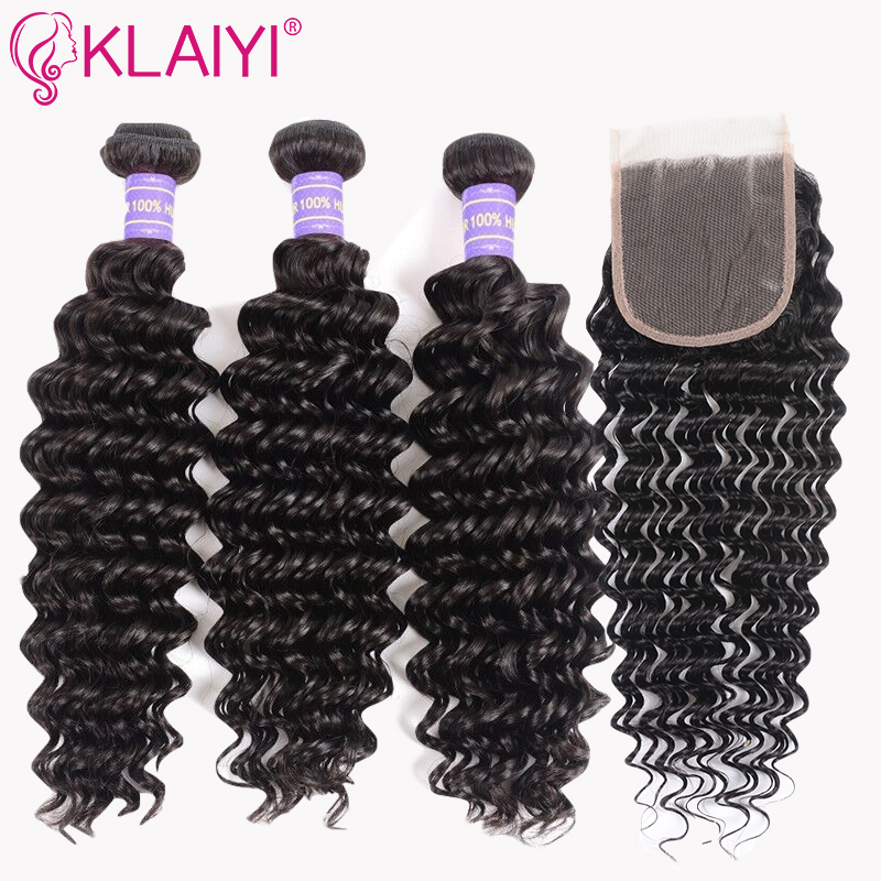 Klaiyi Hair Brazilian Deep Wave Bundles With Closure Free Part Human Hair Bundles With Closure Dark Black 4pcs Remy Hair Weaves