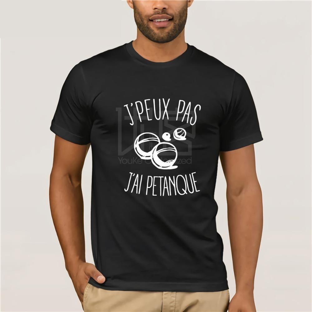 T-shirt J'peux Pas J'ai Petanque Men T Shirt Print Cotton Short Sleeve T-shirt  Vintage Crew Neck  O Neck Cotton Tees Tops