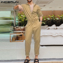 Fashion Men Jumpsuit Overalls Button-Pants Streetwear INCERUN Casual Chic Rompers Long-Sleeve
