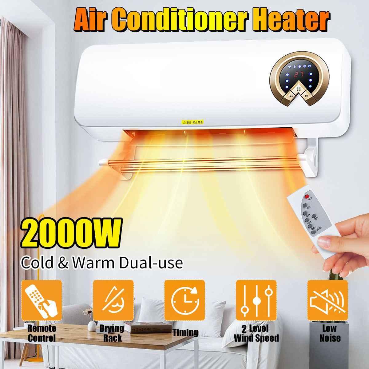 2000W mural refroidisseur d'air climatiseur chauffage ventilateur chauffage salle de refroidissement salle de bains étanche à distance synchronisation climatisation ventilateur