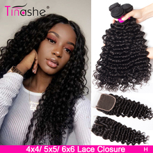 Tinashe Deep Wave Bundles With Closure 5x5 6x6 Lace Closure And Bundles Remy Brazilian Human Hair Weave 3 Bundles With Closure