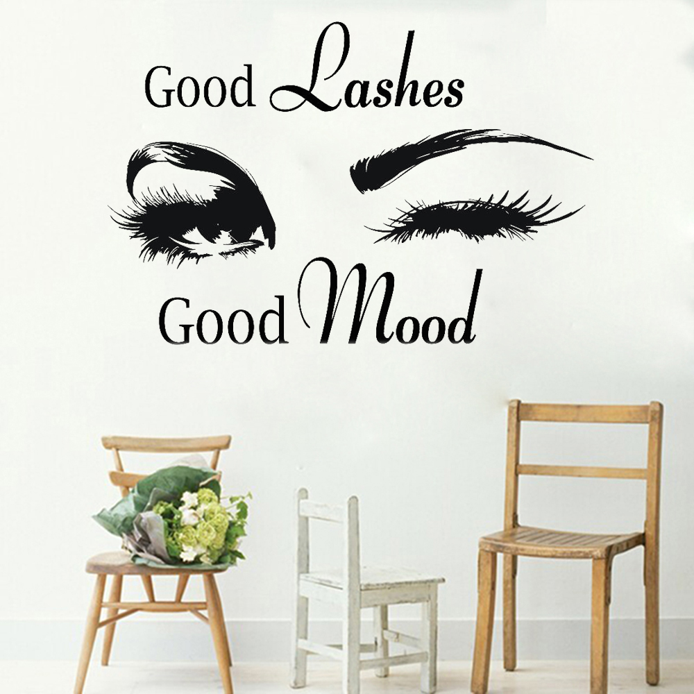 Beauty Salon Wall Decals Good Lashes Good Mood Phrase Wall Stickers For Woman Room Beautiful Eyelashes Decor Fashion Room Y343 Wall Stickers Aliexpress