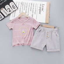 Baby Clothing Sets 1-4Years Summer Baby Boys Clothes Infant Cotton Boys Tops Banana Print T-shirt+Pants Outfits Kids Clothes Set цена 2017