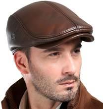 Męska naturalna skóra bydlęca Beret czapka myśliwska czapka czapka typu trucker męska czapka sportowa