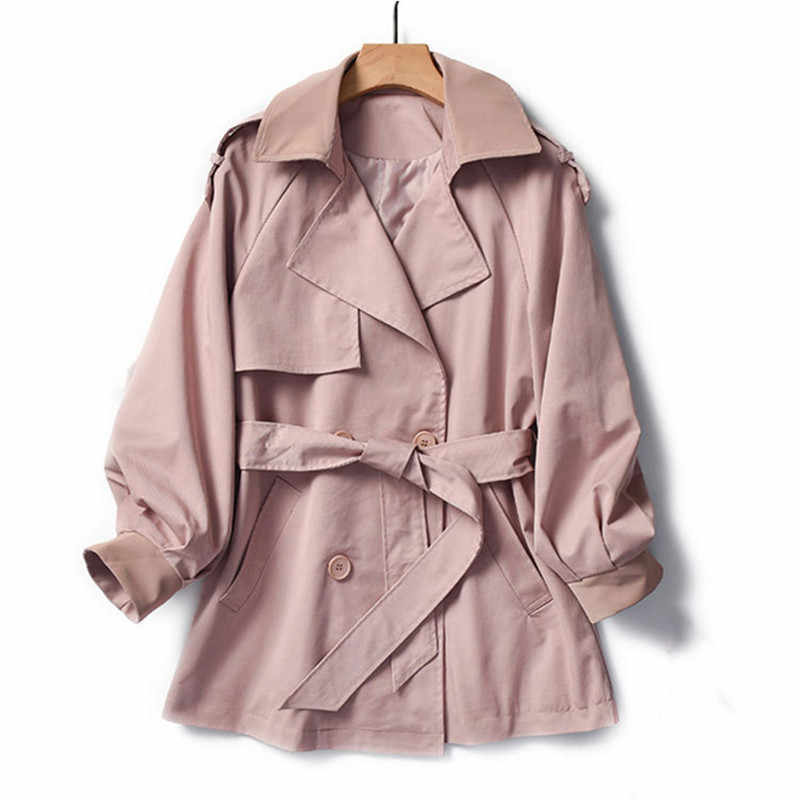 Winter women's windbreaker coat Korean version 019 new temperament Slim M-L plus size pink blue fashion casual trench coat JD533