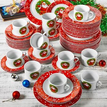 VEWEET 60-Piece Porcelain Christmas Pattern Dinner Combi-Set Dinnerware with Cup Saucer Dessert Plate Soup Plate Dinner Plate
